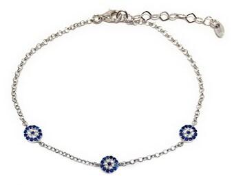 Evil eye Bracelet 925 Sterling Silver Three Charm Zircon Stones Turkish Fashion Jewelry