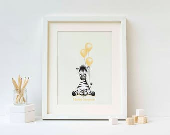 Nursery decor. Zebra print with pastel colours for children's bedroom.
