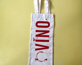 Sreenprinted wine bag with VINO & WINE STAINS