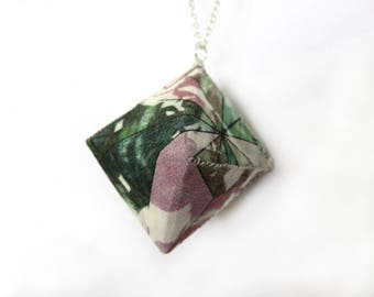 Large Diamond Necklace – Pink and Green Tropical Print - Handmade - Geometric - Silver Plated