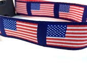 American Flag Dog Collar | Patriotic Dog Collar, Harness & Leash | Personalized Dog Collar | Red White and Blue Collar | 4th of July Collar