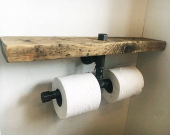 Double Toilet Roll Holder - Industrial Furniture - Bathroom Shelf - Rustic Wood - Bathroom Accessories - Toilet Roll Holder - Steam Punk -