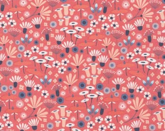Laminated fabric / Cloud 9 Wildflower Red Laminate / Flower Laminated Fabric / Red Waterproof Fabric / Sold by the 1/2 Yard