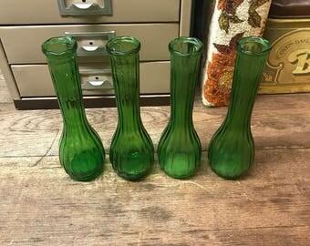 Vintage Vases Green Glass Vertical Lined Set of 4