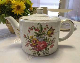 Ellgreave Wood & Sons Genuine Ironstone  Floral Teapot Made in England