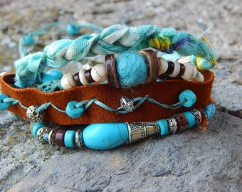 Turquoise leather wrap bracelet and beads