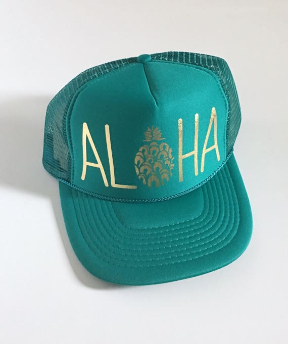 Aloha Trucker Hat| Aloha Hat| Trucker Hat| Pineapple|Trucker Hat| Hawaii Hat| Beach Hat| Teal| Jade-Gold Vinyl