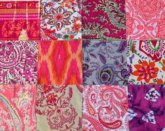 Boho Fabric Squares / Pink Quilting Fabrics / Hippy Bohemian Textiles / Indian Fabric Bundle / Charm Pack / Upcycled Patchwork Squares