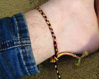 Rainbow and Black Stripes Anklet
