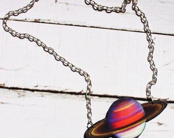 saturn necklace, planet pendant, felt pendant