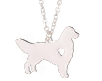 Golden Retriever Necklace Dog Pendant Dog Breed Silver Jewelry Charm Pets New Puppy Adopt Dog Lovers Gift