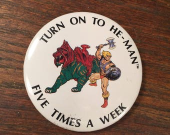 Vintage He-Man Button MOTU Pin Back b