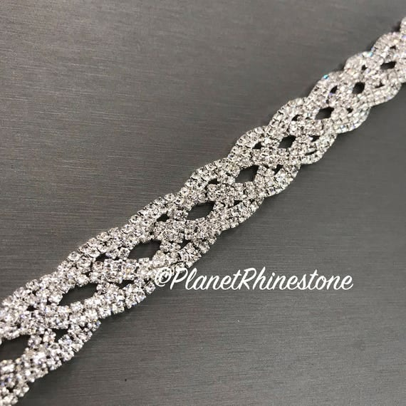 Silver Braided Crystal Trim  #T-A