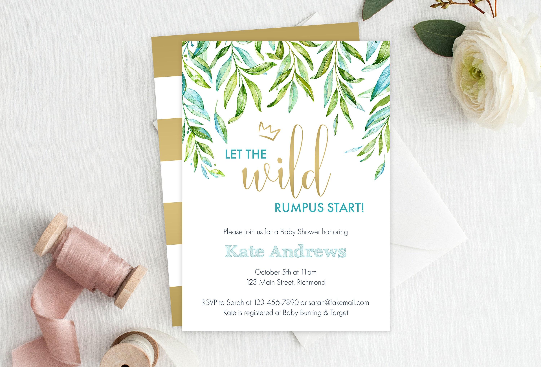 Where The Wild Things Are Baby Shower Invitation Wild Rumpus