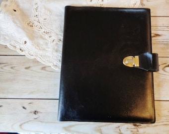 Leather writing case,French writing case 80s,Black leather writing case