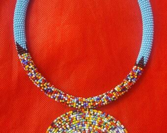 African necklace, African beaded necklace, African tribal jewelry, African bead jewelry