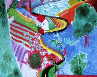 "David Hockney Framed ""Nichols Canyon""  Print-1988"