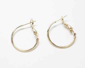 B0021/Anti-tarnished Gold Plating Over Brass/Ear Hoop/20mm(diameter)/2pcs