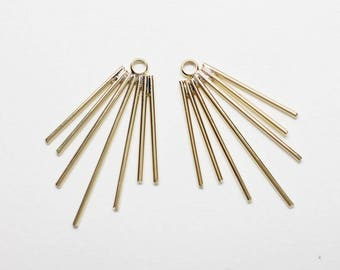 P0777/Anti-tarnished Gold Plating Over Brass/Fanwise Bars Pendant/22x33mm/2pcs