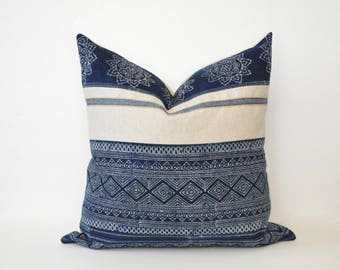 Hmong Indigo Batik Pillow Cover
