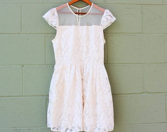 Ivory Lace Sundress with Sheer Tulle Neckline/Size 2-4