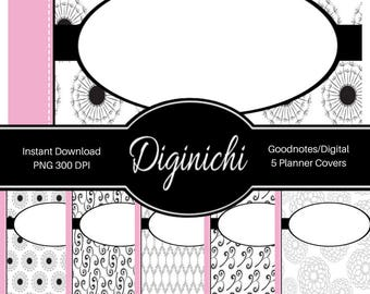 Pink, Black, White 02 - Digital Covers for Goodnotes Digital Planners and Journals - PNG & Printable