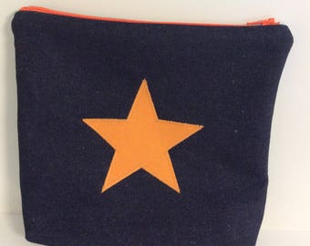 Makeup purse with orange star, bright orange cosmetic bag, star wash bag,makeup bag,pencil case, orange star denim zip bag
