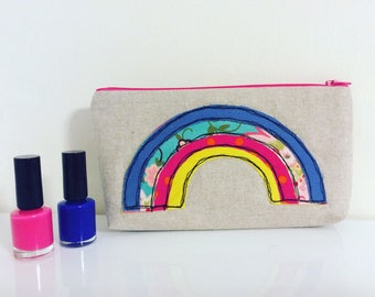 Rainbow Make up bag, Rainbow wash bag, kids wash bag, linen pouch, embroidered bag, makeup bag, pencil case, flower cosmetic bag, purse