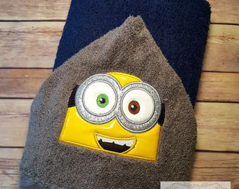 Minion Two-Eyed Character Hooded Towel Bath Towel Beach Towel Embroidered Towel Personalized Towel