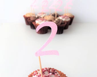 Cupcake Number Topper, Two, Second Birthday Party, Glitter Toppers, Set of 10 Party Picks, 2nd Birthday, Cake Accessories, Centrepieces