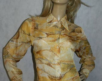Vintage ORIGINAL 1960s 1970s YELLOW/brown/grey retro print shirt blouse 14 70s semi sheer