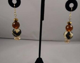 Animal print drop earrings, bead earrings, dangle earrings