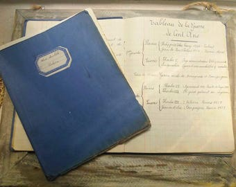 Set of 2 Vintage French 1929 Handwritten HISTORY School NotebookS with history lessons / history book / history classes /