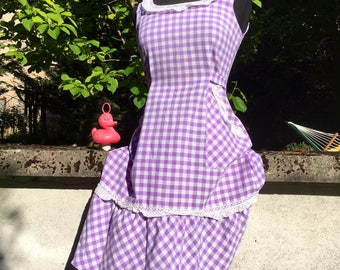 Retro Vintage 60s Country Purple gingham Dress Size 38/10