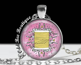 "Thread Spool Necklace - Seamstress Pendant - Quilter Gift - Crafter Jewelry - Gift for Seamstress, Crafter, Textile Artist  - 1"" Pendant"