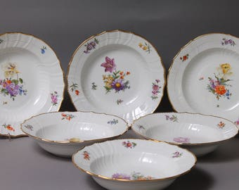 "6 pc Royal Copenhagen Denmark Saxon Flower 8.7"" Rim Soup Bowls 1221 #1"