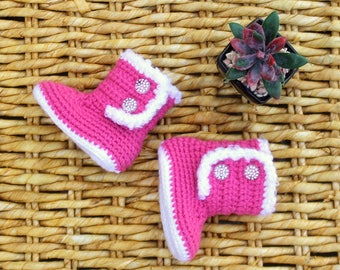 Girls Pink Baby BOOTS, Warm BABY Boots, Crochet Newborn Boots, Baby BLING boots// Request new color below