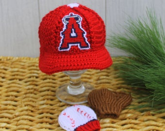 Baseball Hat with Glove and Ball Mittens, Baby baseball MITTENS, Anaheim ANGELS inspired (Handmade by me and not affiliated with the MLB)
