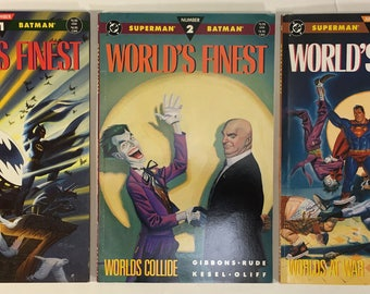 World's Finest #s 1, 2, 3 Superman Batman DC Comics TPB VF 8.5 white pages Unread Condition 1990