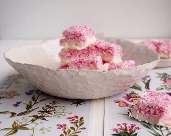 Handmade white ceramic serving bowl circle texture, white pottery bowl, white ceramic serving bowl, white ceramic salad bowl, white pottery