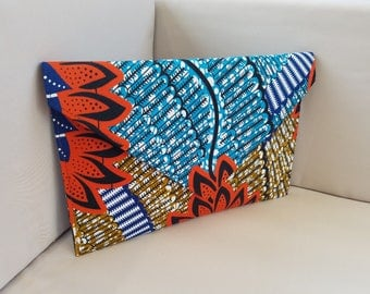 African print envelope clutch purse-Orange/Blue/Brown