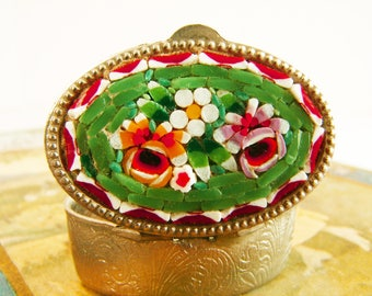 Micro Mosaic Pillbox, Italy, 1950's, Christmas Gift for Her, Red and Green, Patterned Metal Case, Hand Made, Floral Pattern, Purse Accessory