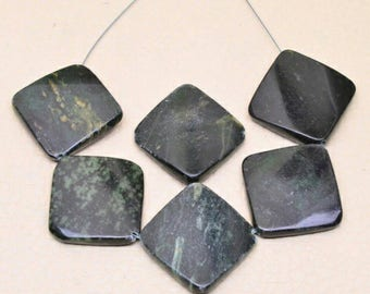 6 pcs Black and Green Jasper 24mm by 24mm by 5mm Square Beads Jewelry Making Supplies Beading Gemstone (BB4-10453777)