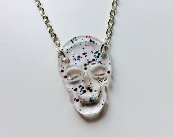 Skull | Halloween | Horror | Skeleton | Emo | Clear | Glitter | Laser Cut | Acrylic | Necklace