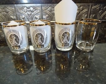 vintage coors sampling glasses set of 4 gold leaf logo small beer tasting glasses