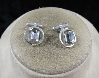 Vintage Pair Of Mens Sterling Silver Signed Destino Gray Glass Stone Cuff Links