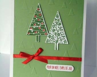 Christmas greeting card - Green - trees - Red satin ribbon