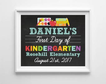 First Day of School Chalkboard Sign, 1st Day of School Chalkboard, Kindergarten, Preschool Digital Printable Poster, Back to School