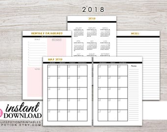 A5 Planner Printable - 2018 Monthly Planner - Filofax A5 - Kikki K Large - Design: Goldie