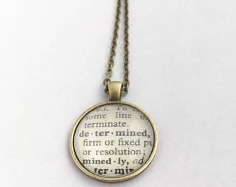 DETERMINED Vintage Dictionary Word Pendant